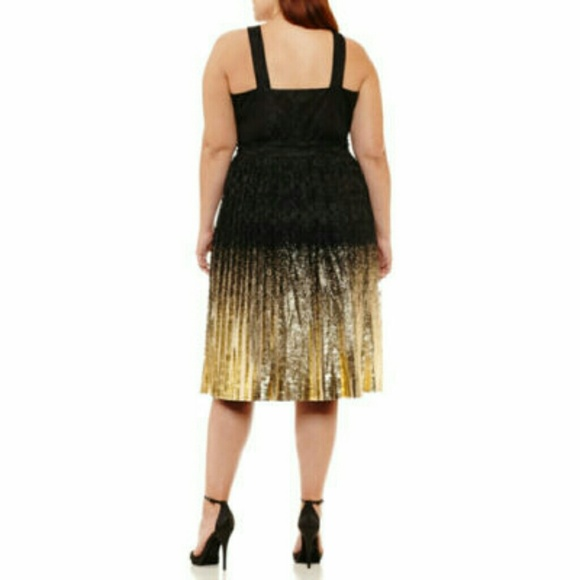 Worthington Dresses - Plus Size Lace Black and Gold Foil Holiday Dress