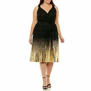 Worthington Dresses - Plus Size Lace Black and Gold Foil Holiday Dress