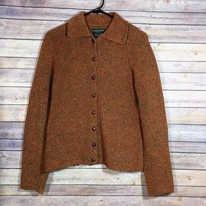 J. Peterman Wool Blend Cardigan Sweater Orange Med