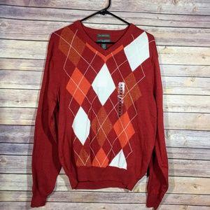 Lyle & Scott Scotland Orange Argyle Cotton Sweater