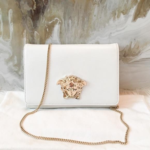 d0511728b4 Versace Medusa White Leather Convertible Clutch