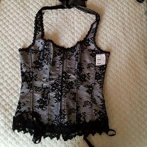 Beautiful Black Lace Flowered Corset!!