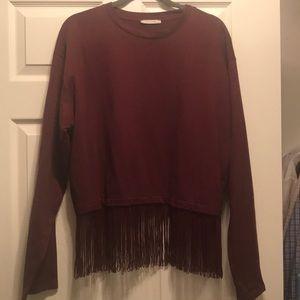 ZARA oversized Fringe Sweater NWOT