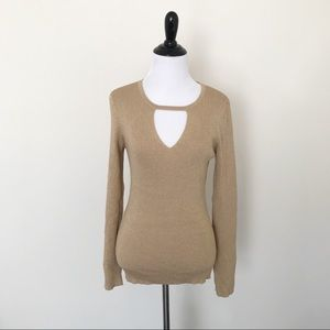 INC Gold Metallic Ribbed Keyhole Sweater, NWT, M