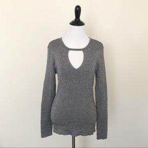 INC Metallic Silver Ribbed Keyhole Sweater, NWT, L