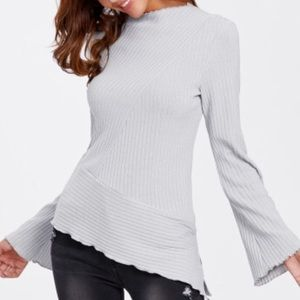 Fluted Sleeve Asymmetric Ribbed Top.