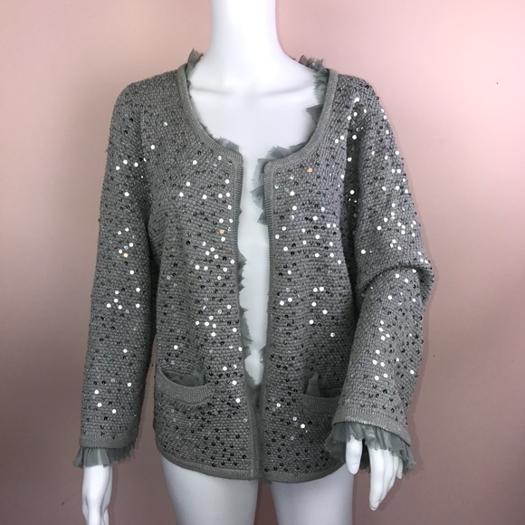 White House Black Market - WHBM Sweater XL Gray Sequin Cardigan ...