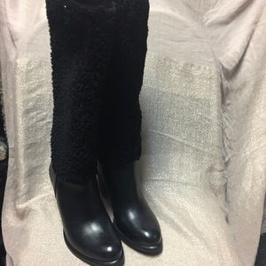53d9be3366 Women's Ugg Ava Exposed Fur Black Boots