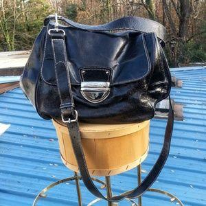 Cynthia Rowley black leather satchel handle & strp