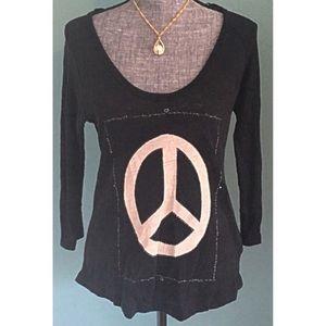 Zara Peace Sign Linen Shirt Long Sleeve