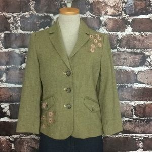 American Eagle green blazer jacket floral beaded