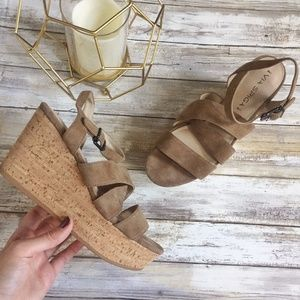 EUC Via Spiga Cork Wedge Suede Sandal