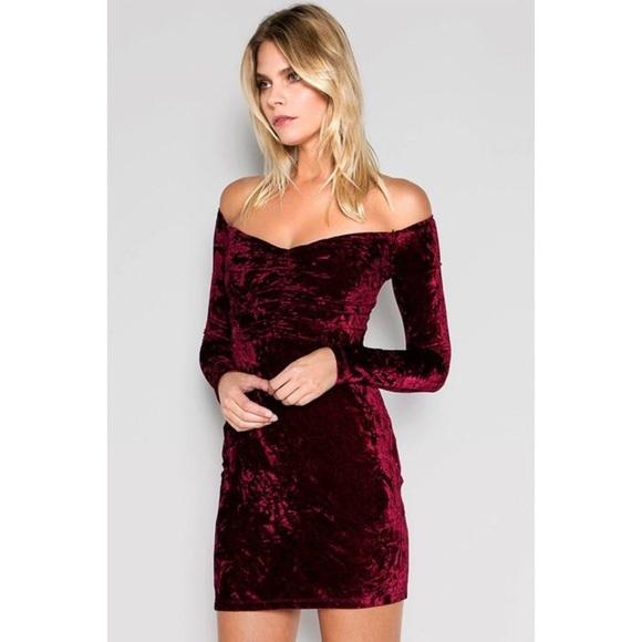 9ba8edcc754 Wine Red Off-Shoulder Long Sleeve Velvet Dress