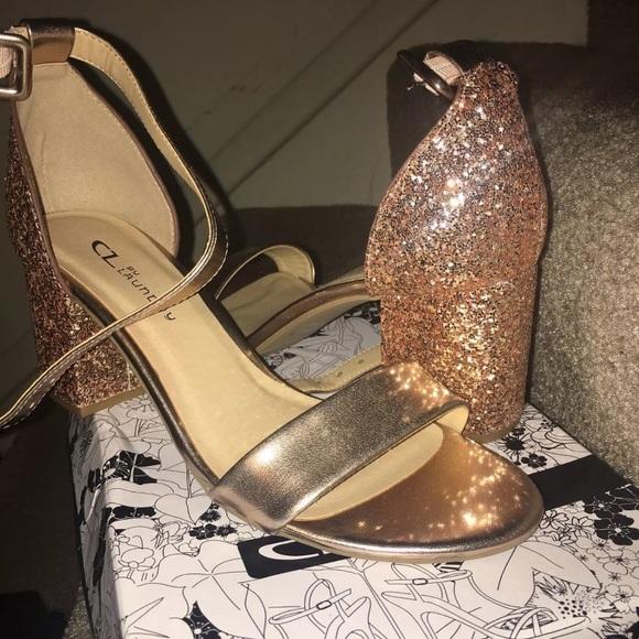 14ba6dea40e Chinese Laundry Rose Gold Glitter Heels