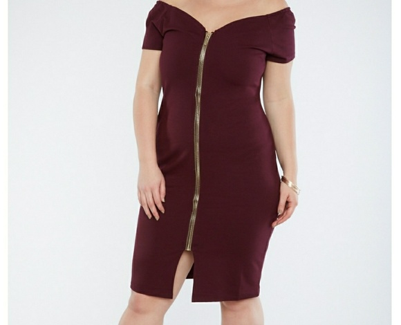 NWOT Plus Size Off the Shoulder Zip Front Dress