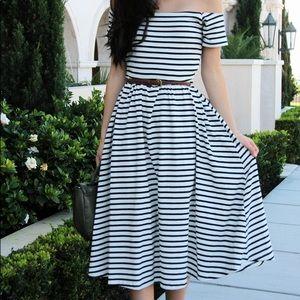 • who what wear • striped midi dress