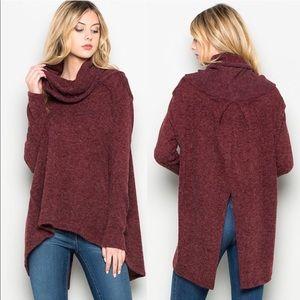 Sweaters - Wine Cowl Neck Sweater