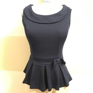 **SOLD**Montaeu Sleeveless Peplum Pleated Blouse