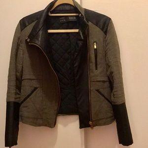 Zara Basic Green & Black Faux Leather Jacket Sz S