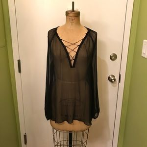 Rachel Zoe Sheer Black Lace Up Blouse Shirt Top