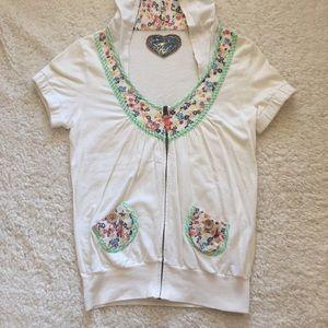 Short sleeve floral hooded zip up jacket