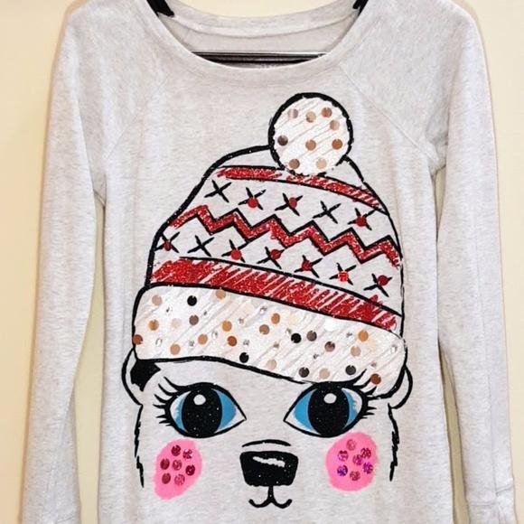 Justice Sweaters Girls Christmas Sweater Greygray Size 16 Poshmark