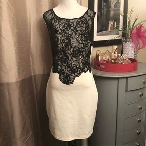 Black lace and ivory dress
