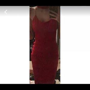 Dresses & Skirts - Red Lace Midi Dress