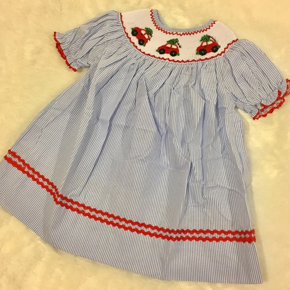 b26f2678d Babeeni Dresses | Blue White Striped Dress Smocked Red Car | Poshmark