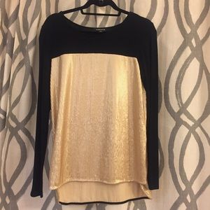 Trouble women's black and gold sequin top