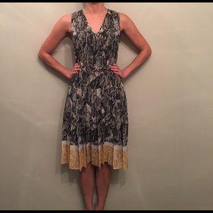 Halogen Pleated Tea Length Dress