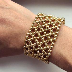 Gold beaded mesh stretch bracelet