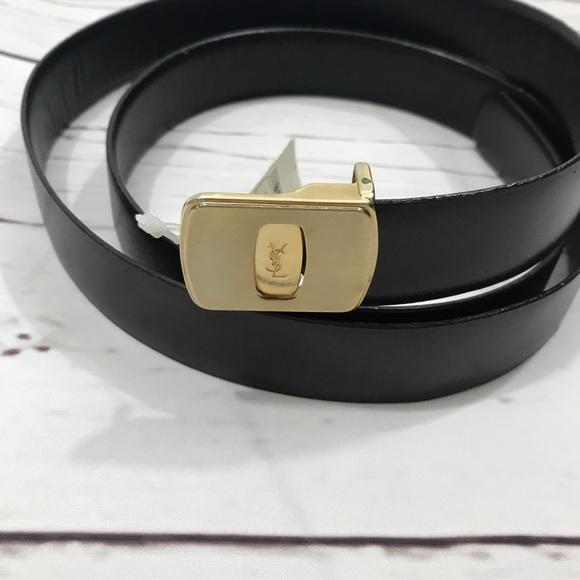 2c18513c3730 NWT Vintage YSL Gold Logo Black Belt 38 40 42