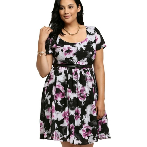 41bb8fbd299 NWT Torrid Watercolor Print Skater Dress