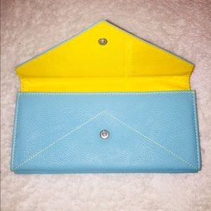 Accessories - Aqua and Yellow Leather Wallet