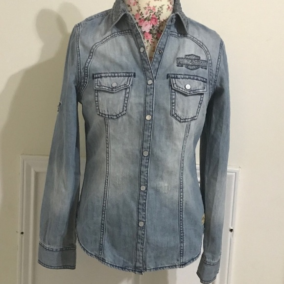 3c15abc1aa0 Harley-Davidson Tops - Harley-Davidson Long Sleeve Denim Shirt size small