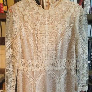 Anna Sui Hearts Embroidered lace dress