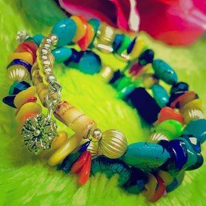 Jewelry - Rhinestone Multi-Color Mult-Wrap Gemstone Bracelet