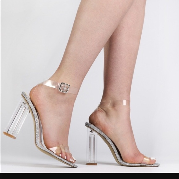bed09d9f6fd ALIA STRAPPY PERSPEX HIGH HEELS IN CLEAR GLITTER