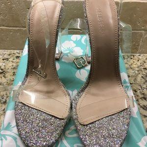 431cfece95e Public Desire Shoes - ALIA STRAPPY PERSPEX HIGH HEELS IN CLEAR GLITTER