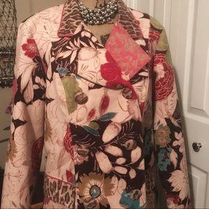 Velvet Jacket Coat XL Leopard Trim