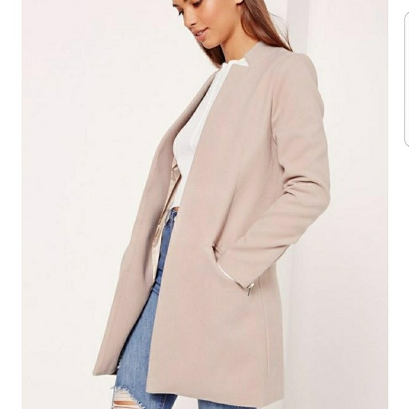 677235a7d94 Tailored Inverted Collar Coat Nude