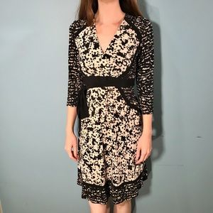 Taylor Black and Cream Wrap Dress Size S