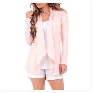Blush Pink Sidetail Open Cardigan