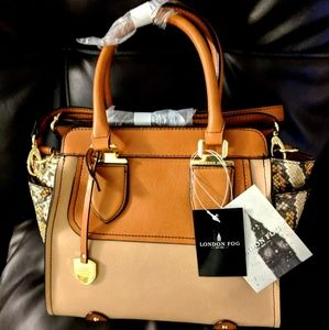 Authentic London Fog Leather Satchel Handbag