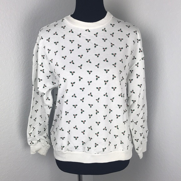 Metro Express Sweaters Ugly White Christmas Sweater Holly Leaves