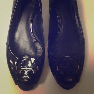 Tory Burch black patent peep toes