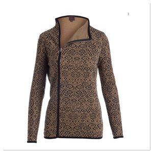 Camel & Black Ikat Zip-up Sweater