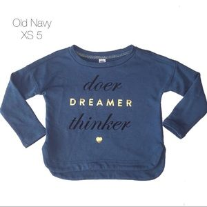 Old Navy Doer Dreamer Thinker Teal Sweatshirt XS 5
