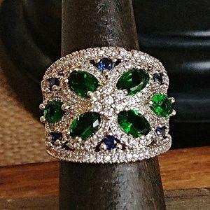 Jewelry - Lab Created Emerald & CZ Band